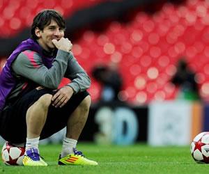 Messi, Mascherano y Milito en Wembley, antes de la final