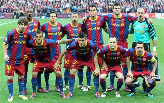 Equipo del FC Barcelona formado/EFE