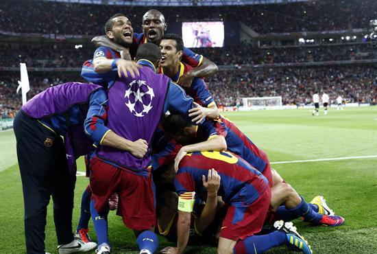 Los jugadores del FC Barcelona celebran/EFE