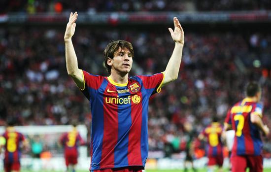 El jugador argentino del FC Barcelona Lionel Messi celebra/EFE