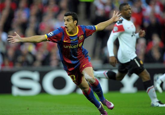 Pedro Rodriguez del FC Barcelona celebra el 1-0 contra el Manchester United/EFE