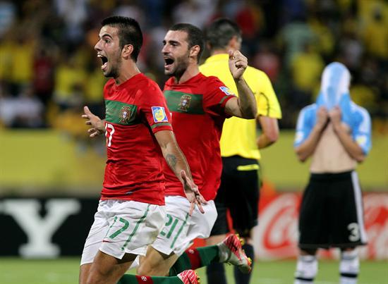 Jugadores de la selección sub 20 de Portugal celebran su triunfo sobre Argentina/EFE