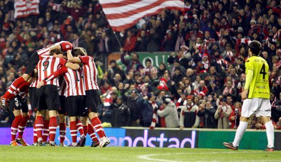 Los jugadores del Athlétic de Bilbao celebran el segundo gol ante el Mirandés. Foto: EFE