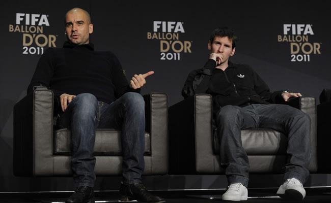 Josep Guardiola y Leo Messi (FC Barcelona). Foto: EFE