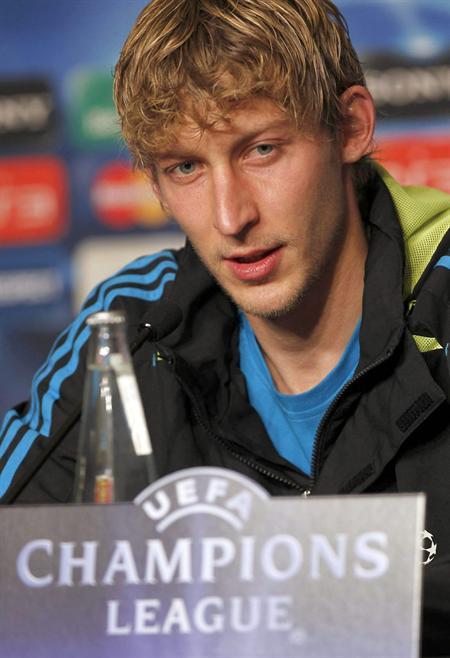 El delantero alemán del Bayer Leverkusen Stefan Kiessling durante la conferencia de prensa. Foto: EFE