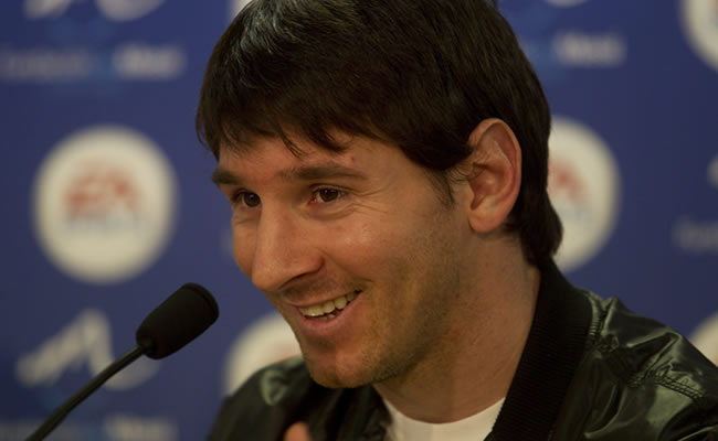 El delantero argentino del FC Barcelona Leo Messi en conferencia de prensa. Foto: EFE