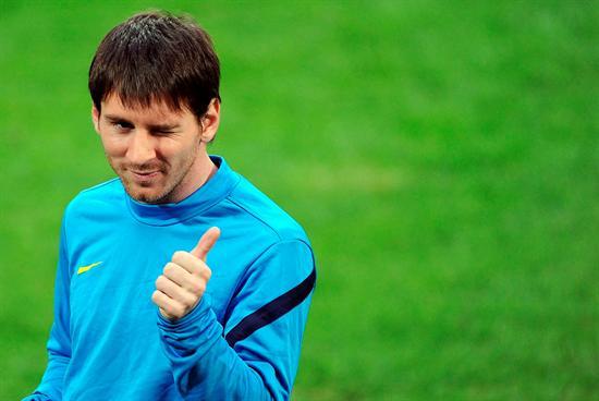 El argentino del FC Barcelona Leo Messi durante el entrenamiento en Milán. Foto: EFE