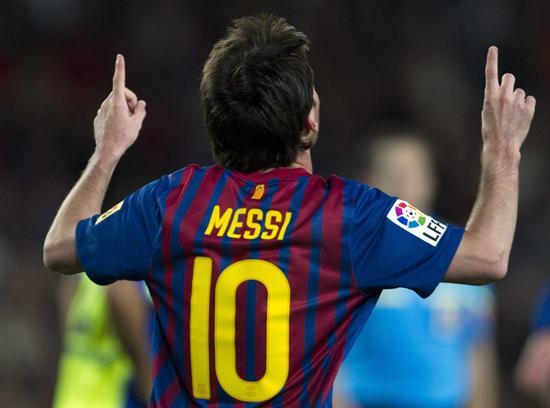El delantero argentino del Barcelona Lionel Messi celebra el segundo gol de su equipo al Getafe. EFE