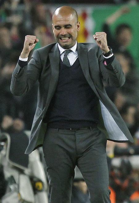 Pep Guardiola, entrenador del Barcelona, celebra el primer gol de su equipo al Getafe. EFE