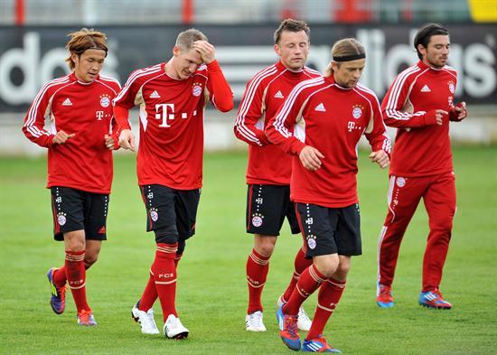 Los jugadores del Bayern Munich durante el entrenamiento en Munich, Alemania. Foto: EFE