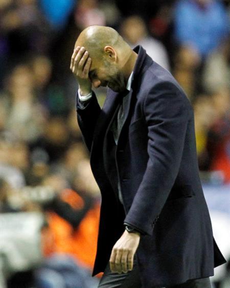 El entrenador del FC Barcelona, Pep Guardiola ante el Levante UD. Foto: EFE