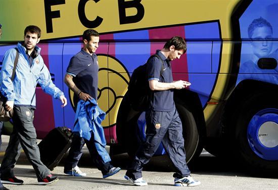 El delantero argentino del FC Barcelona, Lionel Messi llega al Stamford Bridge. Foto: EFE