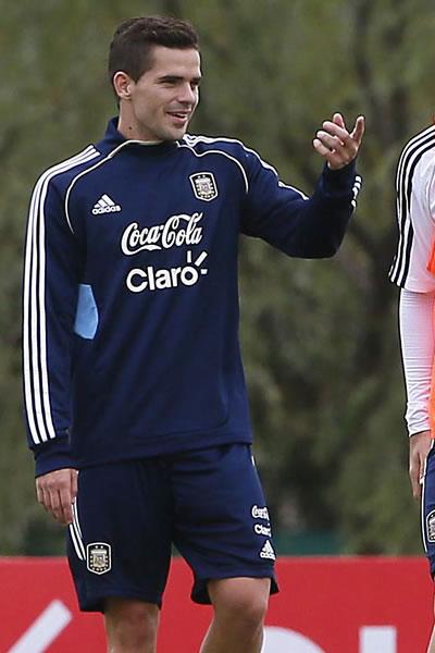 Fernando Gago entrenando con la Albiceleste. Foto: EFE