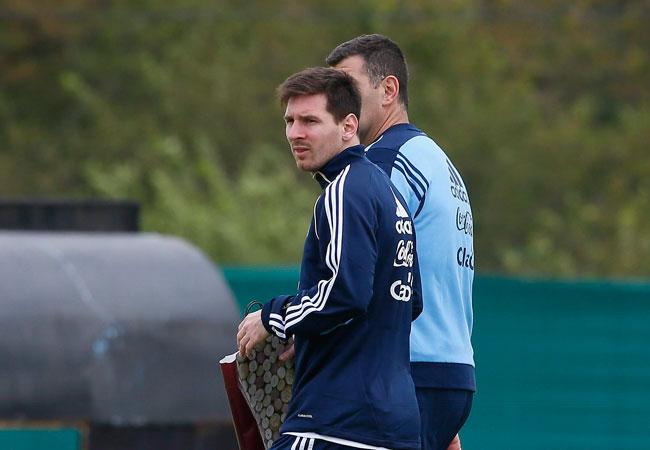 Lionel Messi en uno de los entrenamientos de la Selección Argentina de fútbol. EFE