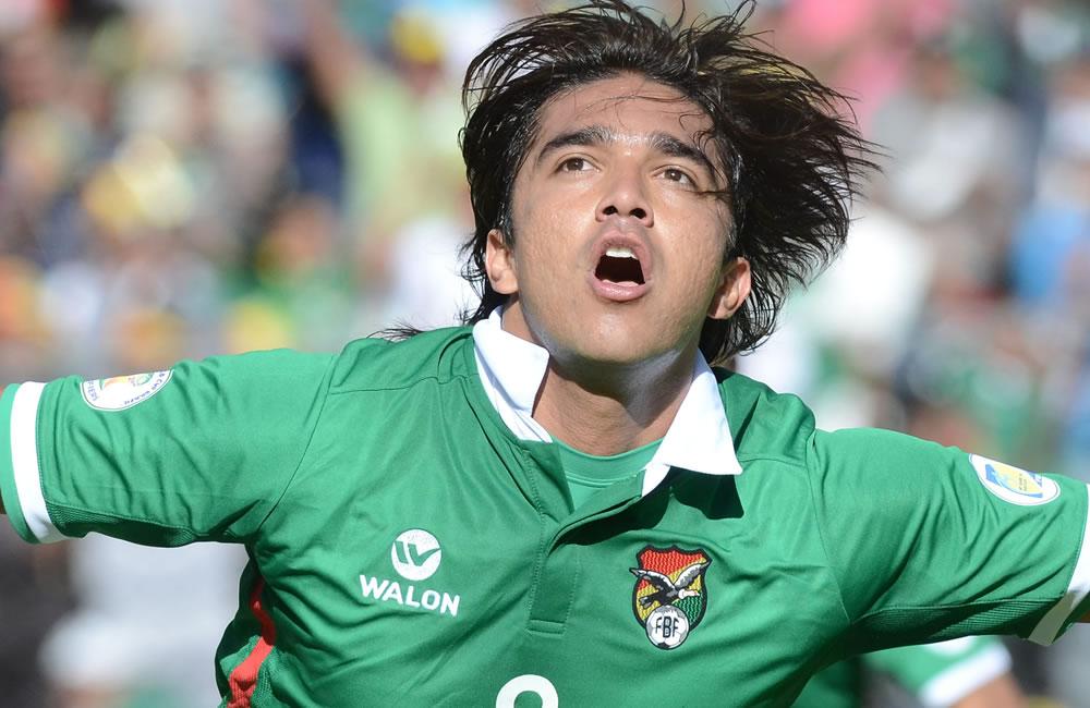 El jugador de Bolivia Marcelo Martins celebra su gol ante Argentina. Foto: EFE