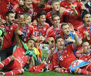 Los jugadores del Bayern Múnich celebran la conquista de la Liga de Campeones