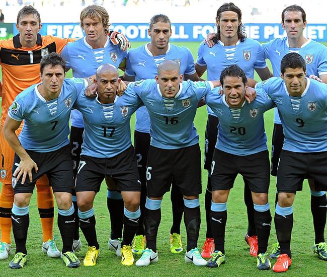 Los jugadores de la selección uruguaya. Foto: EFE