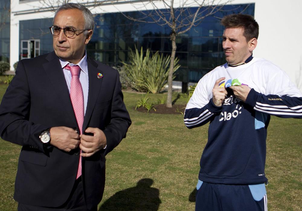 El astro argentino Leo Messi expresó en Buenos Aires su apoyo a la candidatura de Madrid para ser sede de los Juegos Olímpicos de 2020. Foto: EFE