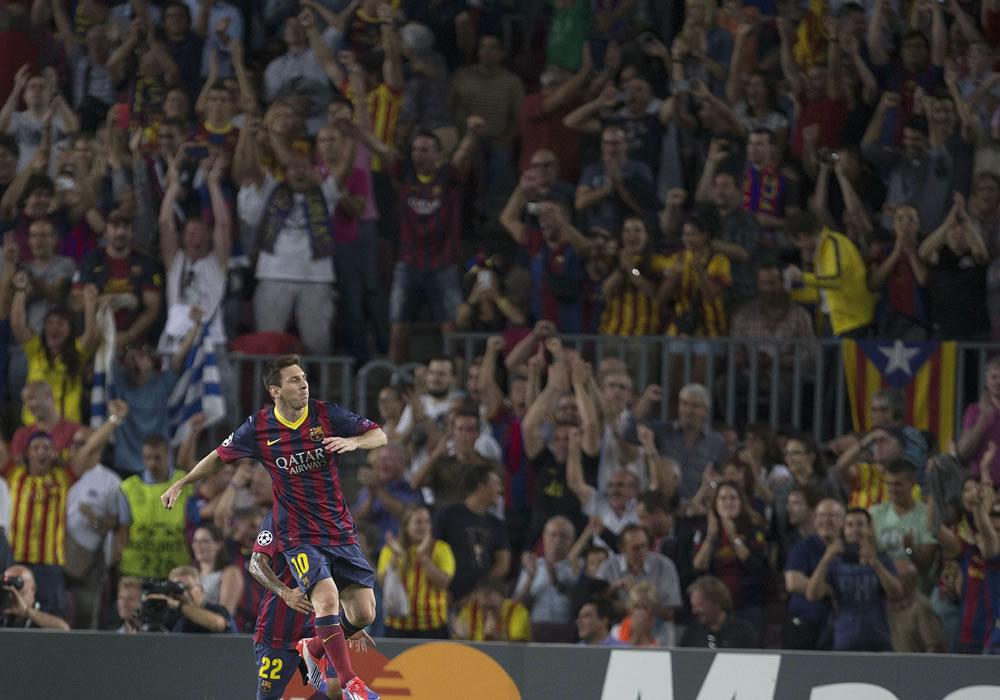 El delantero argentino del FC Barcelona Lionel Messi celebra. Foto: EFE