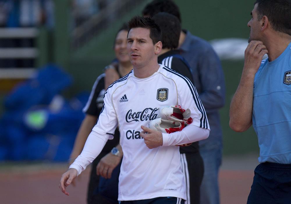 Leo Messi con la Albiceleste. Foto: EFE