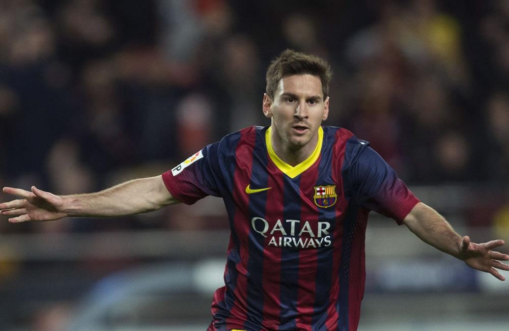 El delantero argentino del F. C. Barcelona, Leo Messi, celebra el segundo gol del equipo. Foto: EFE