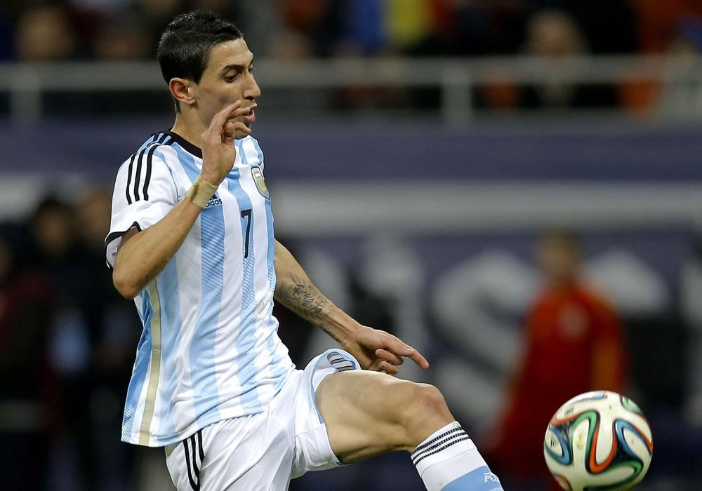 Ángel Di Maria de Argentina es visto en acción durante un partido amistoso. Foto: EFE