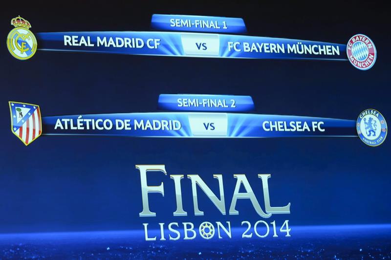 Real Madrid-Bayern Múnich y Atlético Madrid-Chelsea serán las semifinales