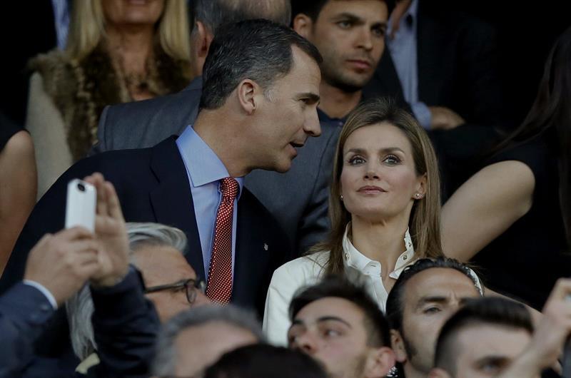 Los Príncipes de Asturias presencian desde el palco el partido de ida de semifinales de la Liga de Campeones. Foto: EFE