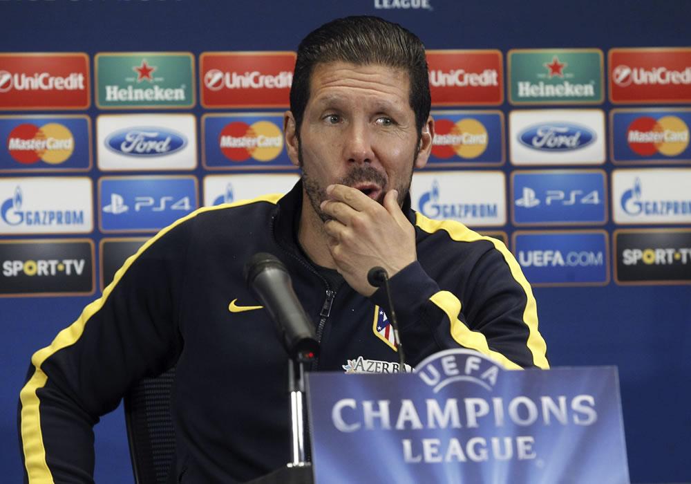 El entrenador argentino del Atlético de Madrid, Diego Simeone, durante la conferencia de prensa. EFE