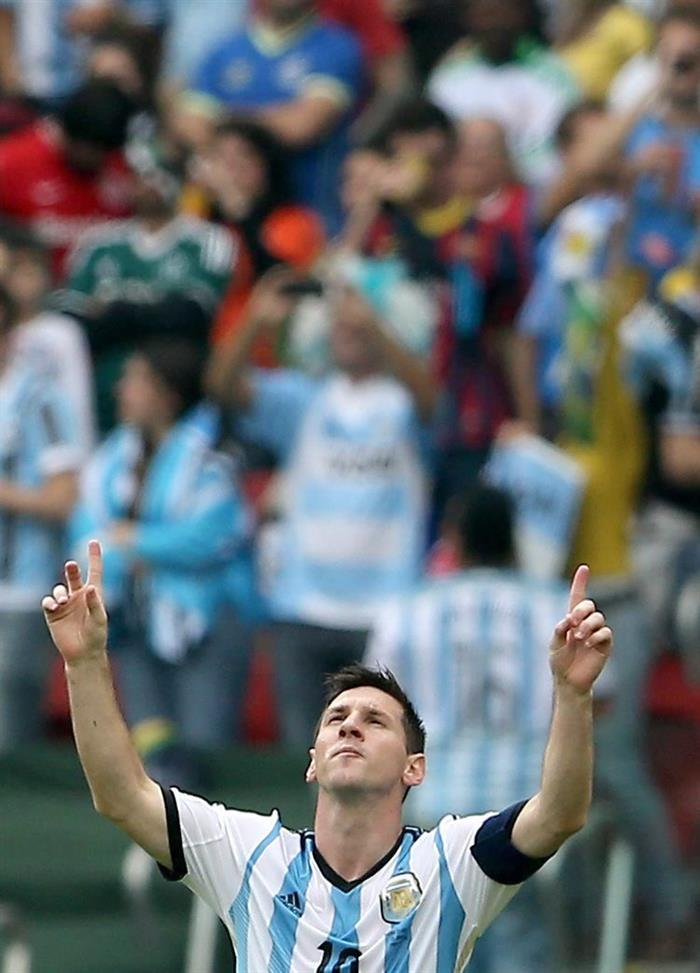 Lionel Messi of Argentina celebrates after scoring the 1-2 lead during the FIFA World Cup 2014 group F. EFE