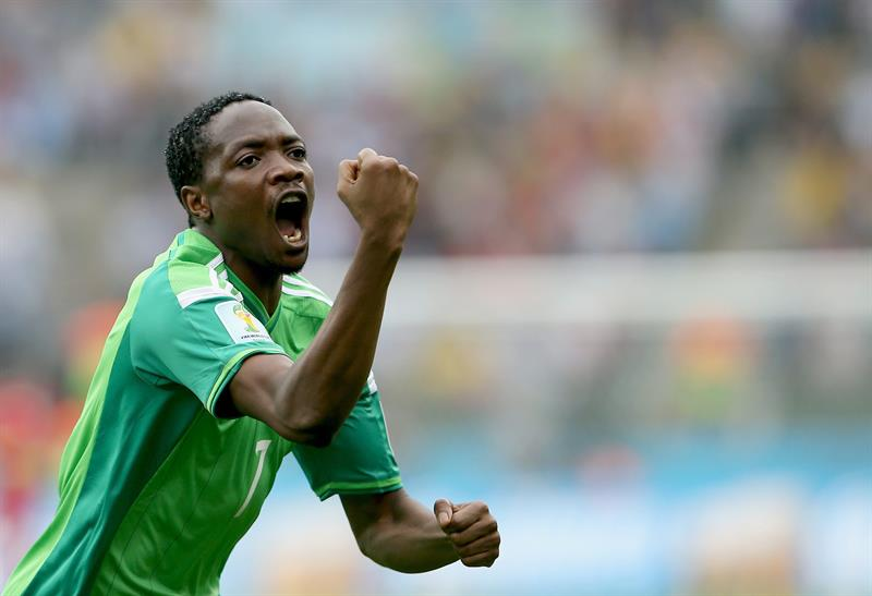 Ahmed Musa of Nigeria celebrates after scoring the equalizer during the FIFA World Cup 2014 group F. EFE