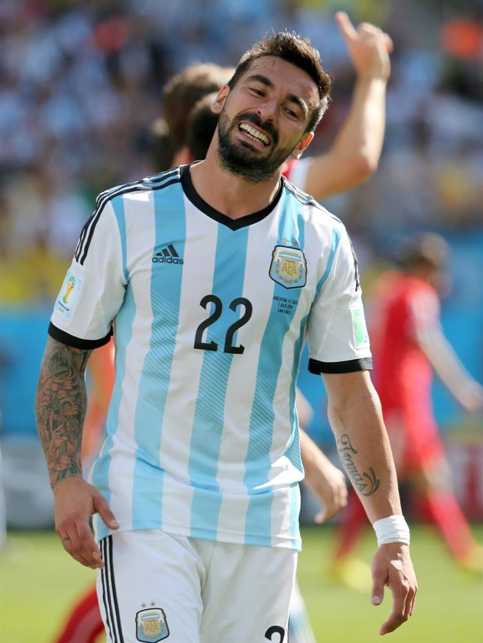 Ezequiel Lavezzi of Argentina reacts during the FIFA World Cup 2014. EFE
