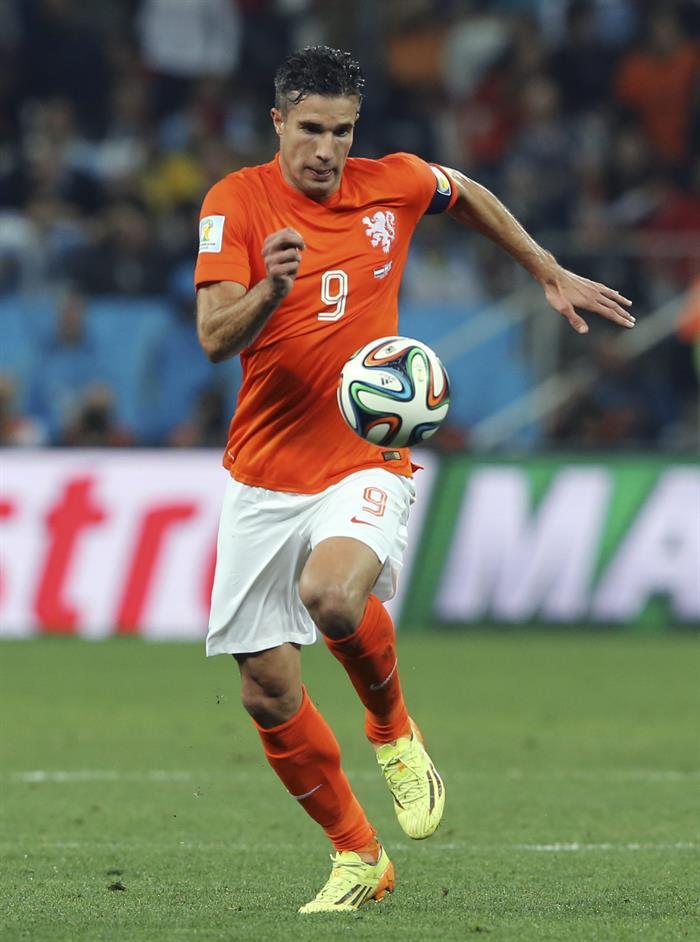 El delantero holandés Robin van Persie, durante el partido Holanda-Argentina. EFE
