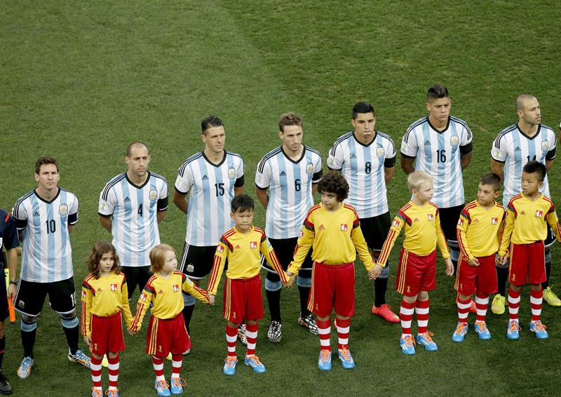 Players of Argentina before the FIFA World Cup 2014. EFE
