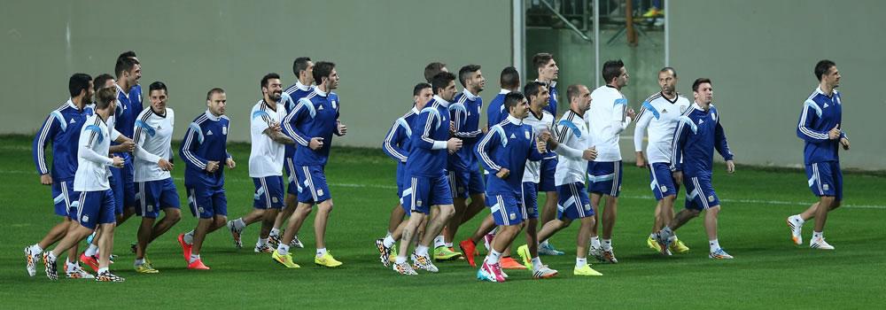 La selección argentina completó sus entrenamientos en el complejo de Cidade do Galo. Foto: EFE