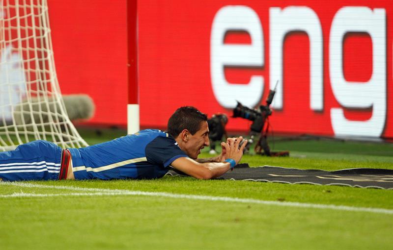 Ángel di María de Argentina celebra el 4-0 ante Alemania. EFE