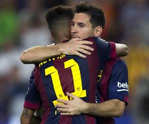 Las fotos del doblete de Messi y goleada del Barsa