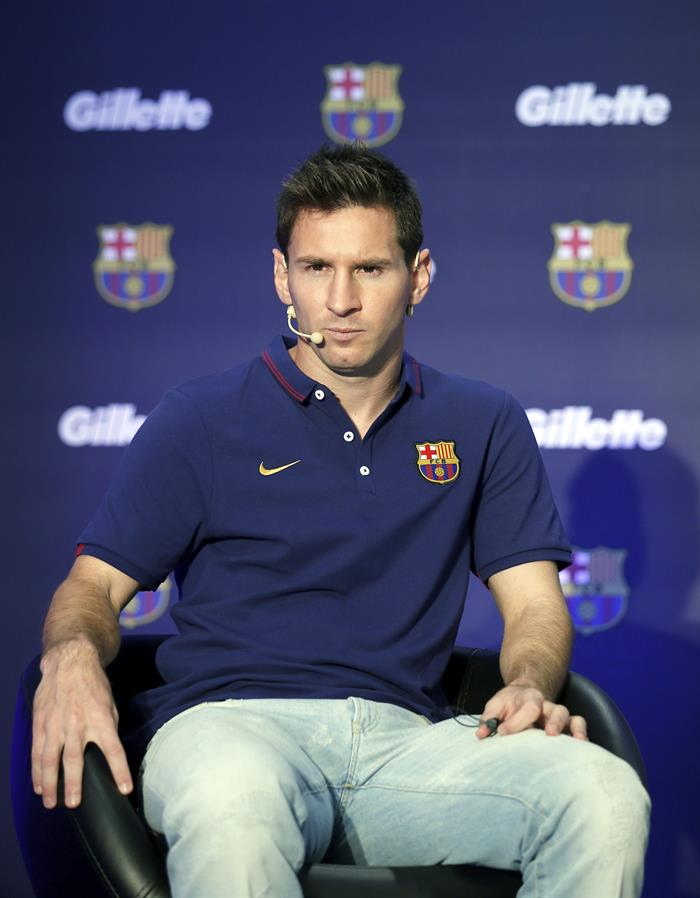 El argentino Lionel Messi durante la presentación de una marca como nuevo patrocinadora del club FC Barcelona. EFE