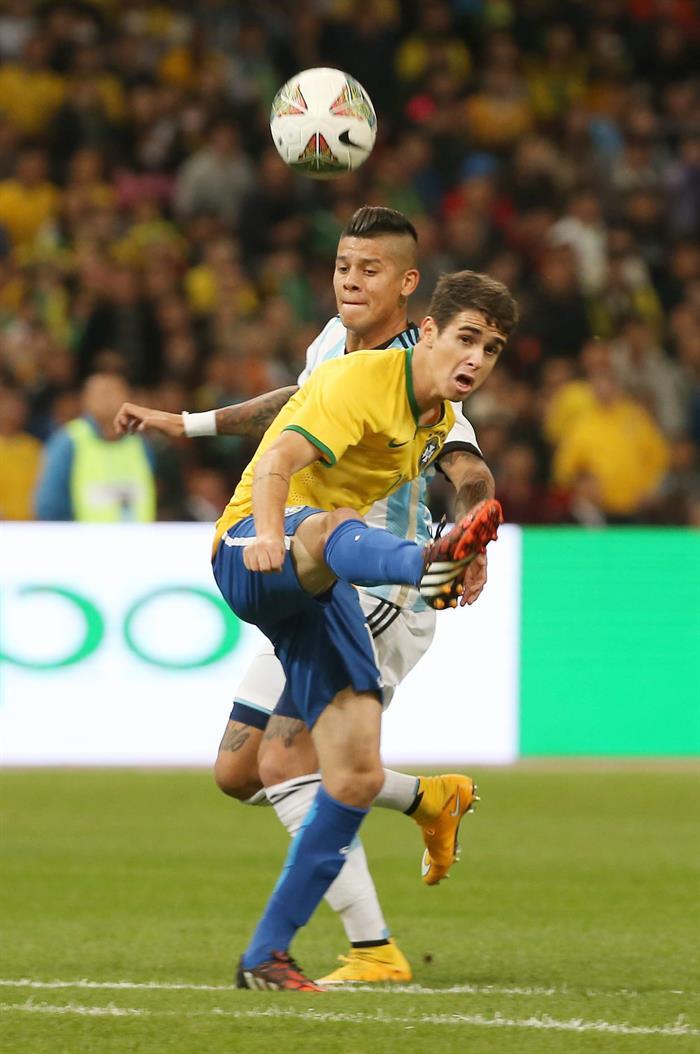 El Superclásico de las Américas, jugado por primera vez en Asia, se saldó en el Estadio Olímpico de Pekín con una victoria de Brasil ante Argentina. Foto: EFE