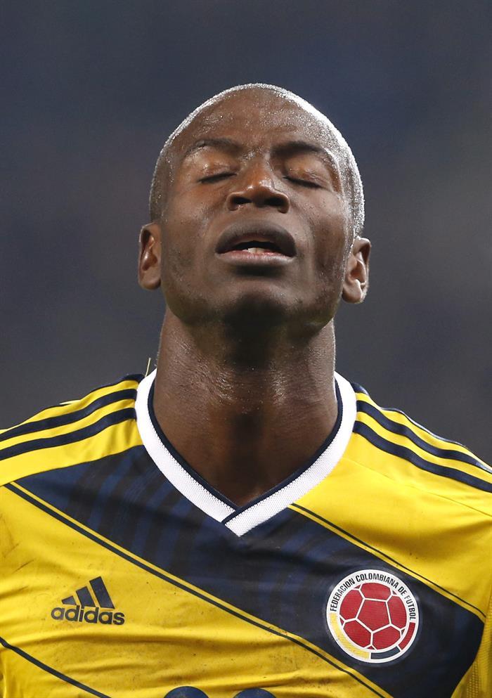 El jugador de Colombia Adrián Ramos celebra un gol marcado por su equipo durante un partido de fútbol amistoso ante Eslovenia. Foto: EFE