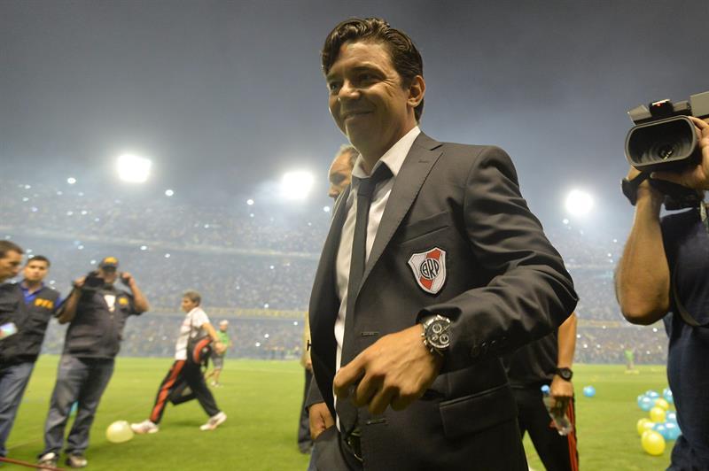 El entrenador de River Plate, Marcelo Gallardo, durante el partido por la semifinal de la Copa Sudamericana. EFE