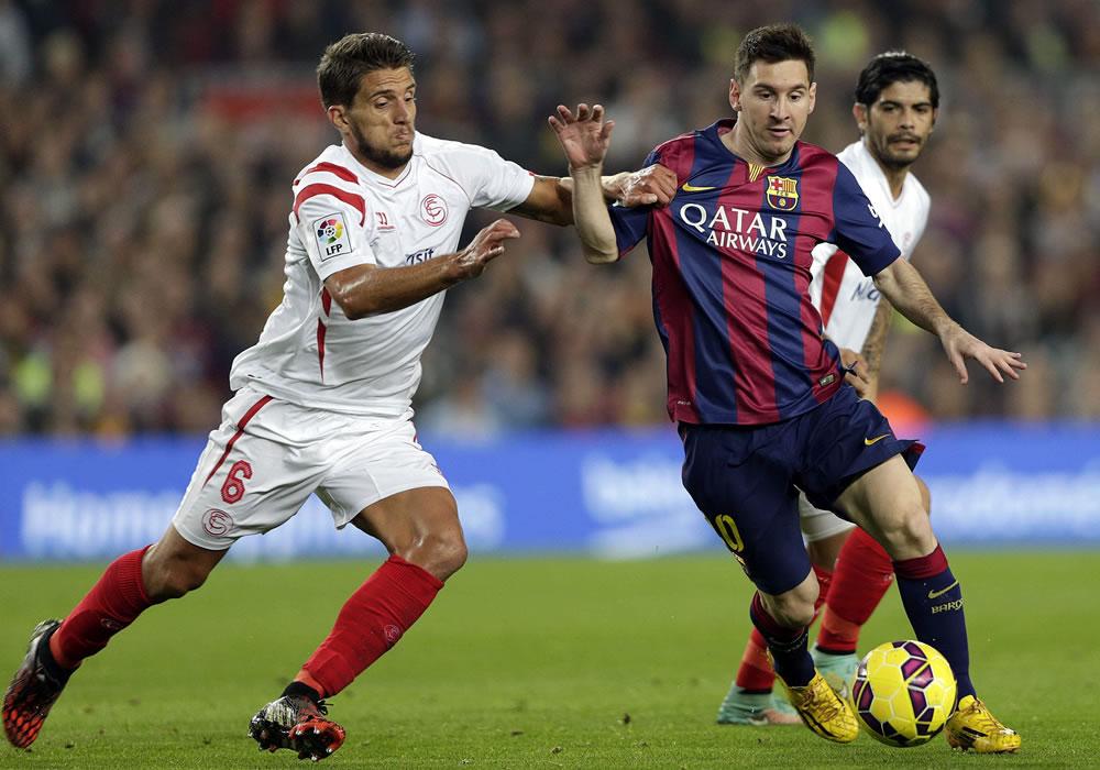 Leo Messi le ha marcado más goles en Liga al Sevilla que a ningún otro rival (18). Foto: EFE