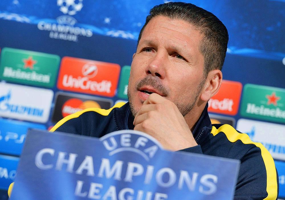 El entrenador del Atlético de Madrid, el argentino Diego Pablo Simeone, ofrece una rueda de prensa en Turín, Italia. Foto: EFE