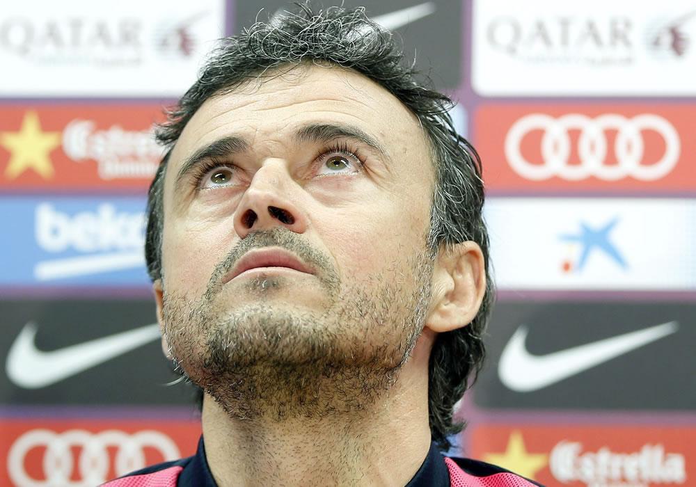 El entrenador del Barcelona, Luis Enrique Martínez, durante la rueda de prensa que ha ofrecido tras el entrenamiento del equipo. Foto: EFE