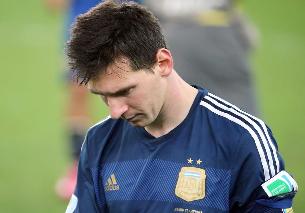 Leo Messi tras perder la final  del Mundial Brasil 2014. Foto: EFE/Archivo