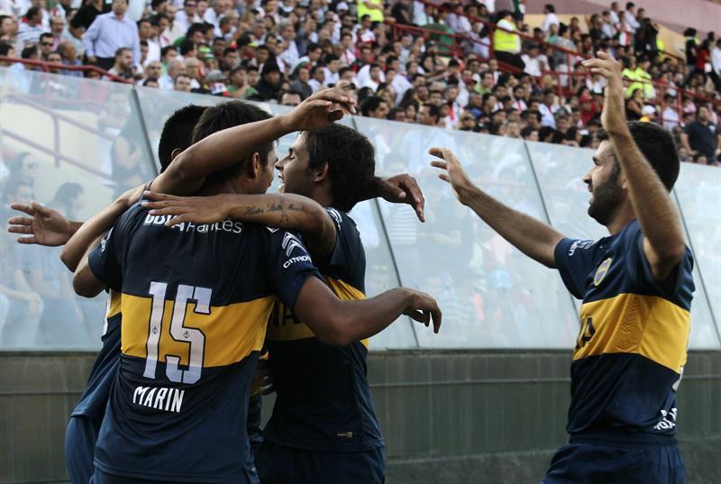 Boca pisó fuerte en su debut copero frente a Palestino en Chile. EFE