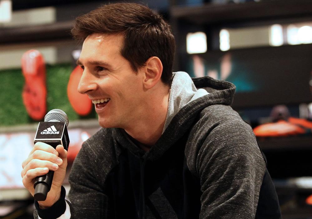 El argentino del FC Barcelona Leo Messi durante un acto comercial. Foto: EFE