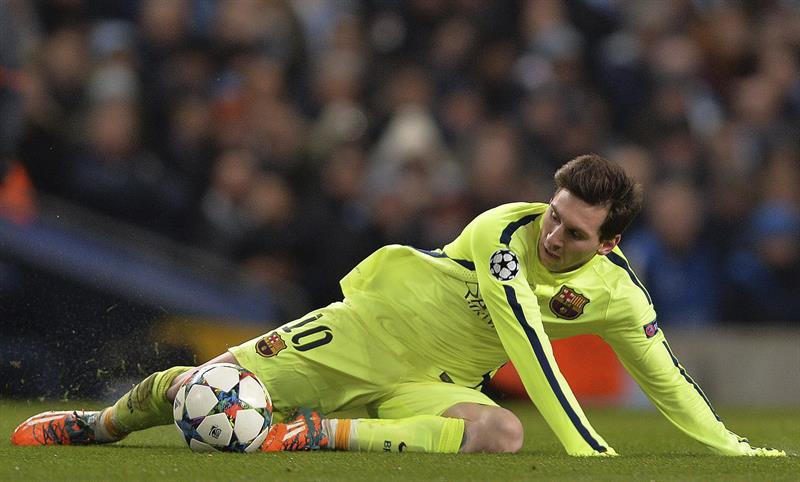 El delantero argentino del FC Barcelona, Lionel Messi durante el partido de ida de octavos de final de la Liga de Campeones. Foto: EFE