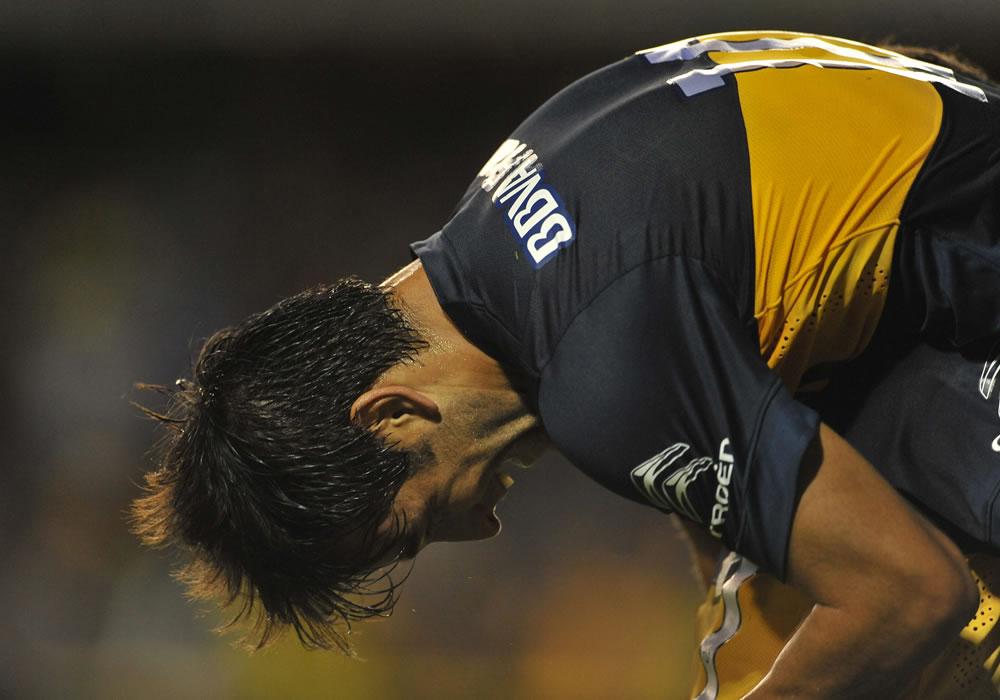 El jugador Nicolas Lodeiro de Boca Juniors celebra un gol ante Zamora de Venezuela. Foto: EFE