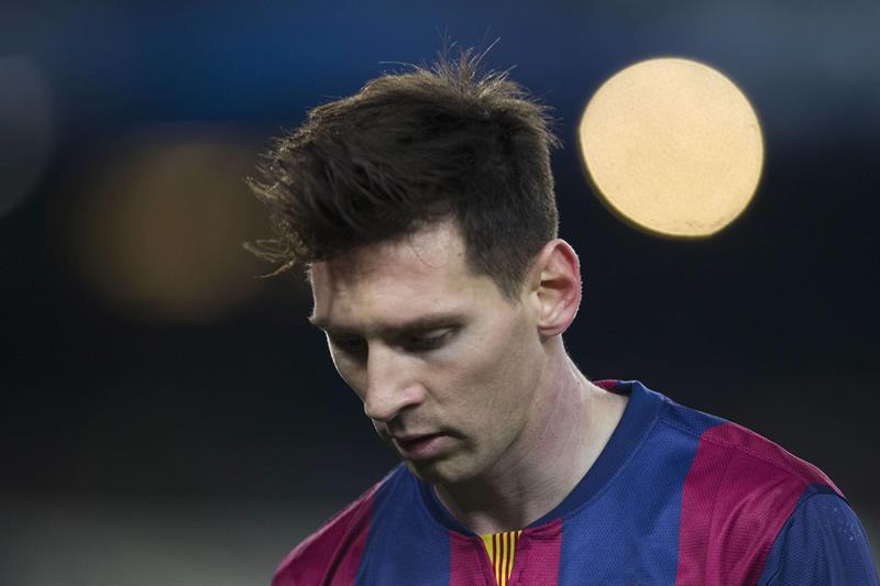 El delantero argentino del FC Barcelona, Leo Messi, durante el partido de vuelta de octavos de final de Liga de Campeones. EFE